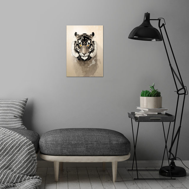 Tiger wall art is showcased in interior