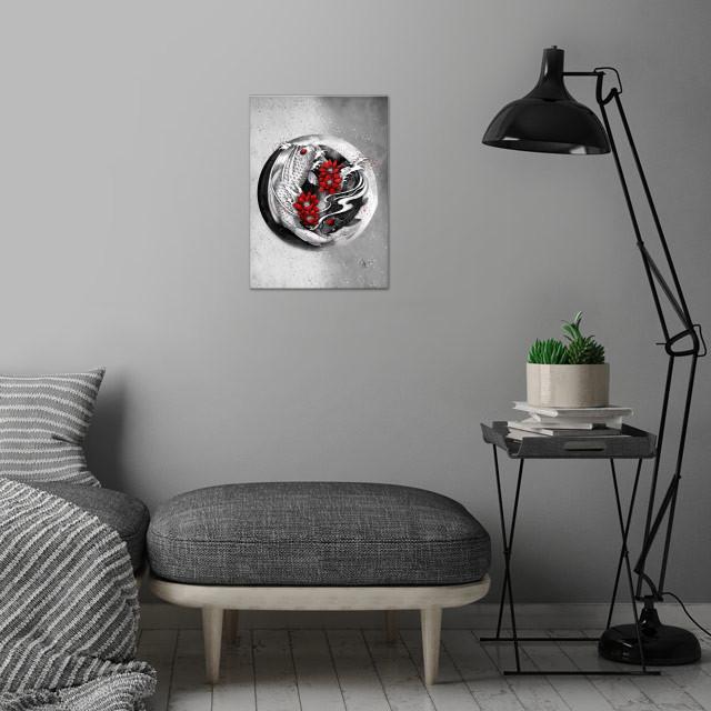 Balance [ Yin-yang koi] wall art is showcased in interior