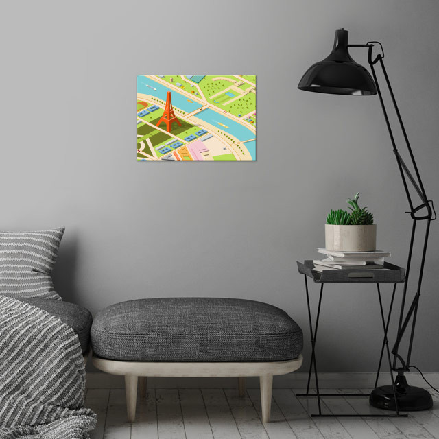 eiffel and environs - isometric wall art is showcased in interior