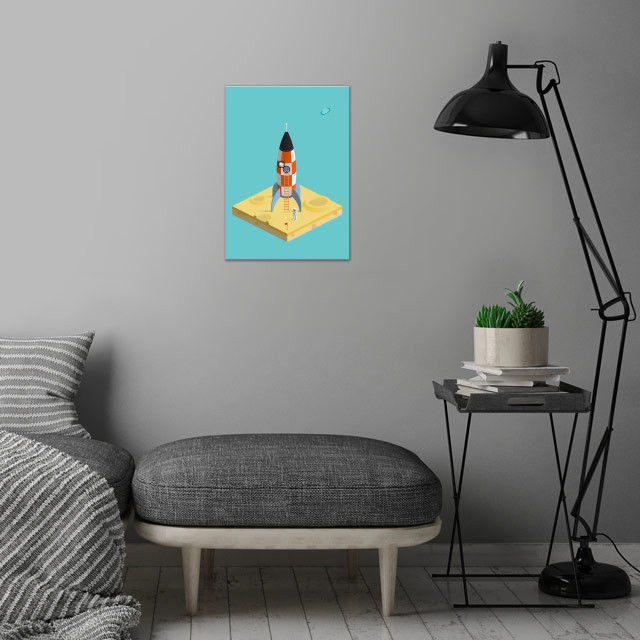 man on the moon wall art is showcased in interior