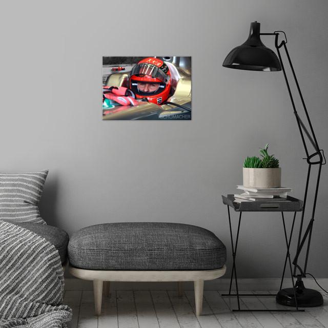 Formula 1 legend Michael Schumacher wall art is showcased in interior
