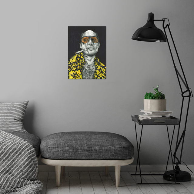 Fear and loathing wall art is showcased in interior