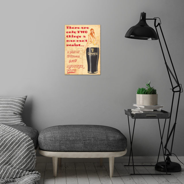 Guinness wall art is showcased in interior