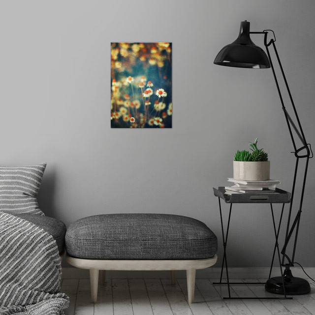 Painterly Camomille flowers a the fringe of a field - t... wall art is showcased in interior