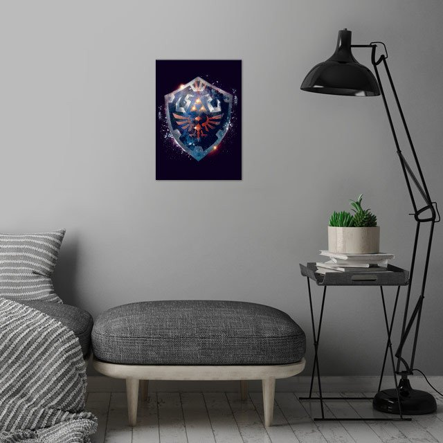 Dramatic and epic poster design I made based on the Legend of Zeldas iconic Hylian Shield in a movie poster style. wall art is showcased in interior