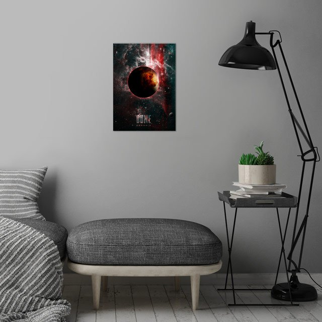 The Spice Must Flow an epic portrait of the planet Arrakis inspired by the Novel DUNE by Frank Herbert and the film of the same name by David Lynch wall art is showcased in interior