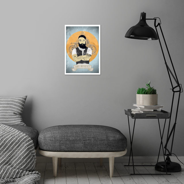 Johns Motorcylce wall art is showcased in interior
