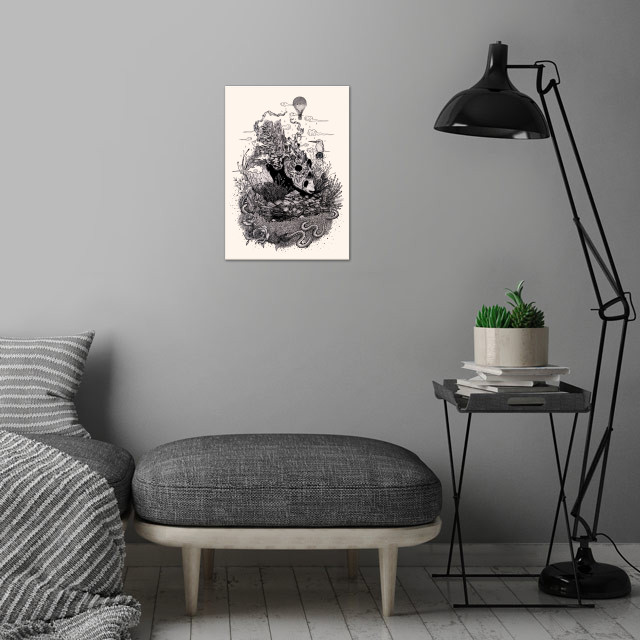 Land of the Sleeping Giant (Ink) wall art is showcased in interior