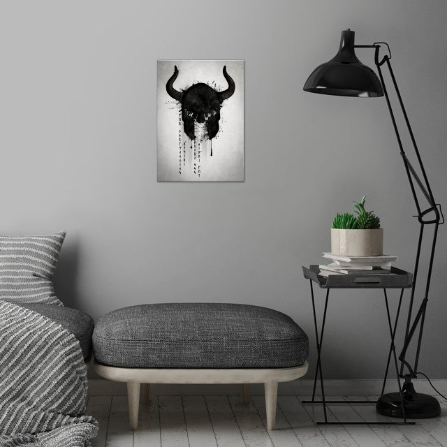 Northmen.  A digital illustration of a viking helmet wi... wall art is showcased in interior