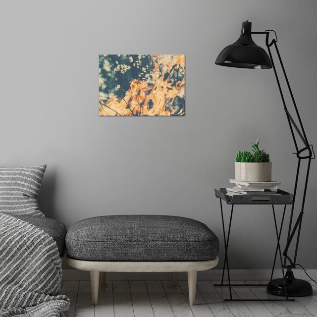 """Bloom of Fire (1)"" wall art is showcased in interior"