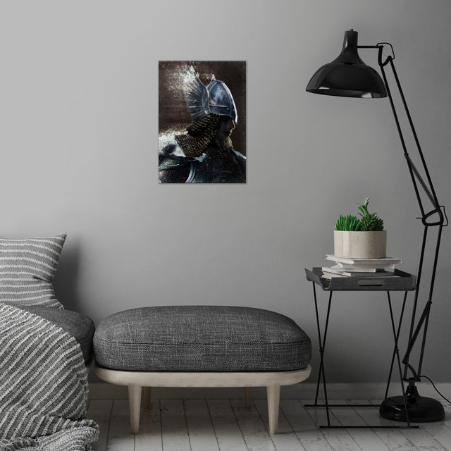 Nordic Warrior wall art is showcased in interior