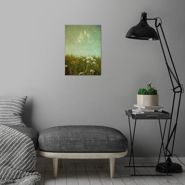 Common Yarrow in front of a field of barley - texturize... wall art is showcased in interior