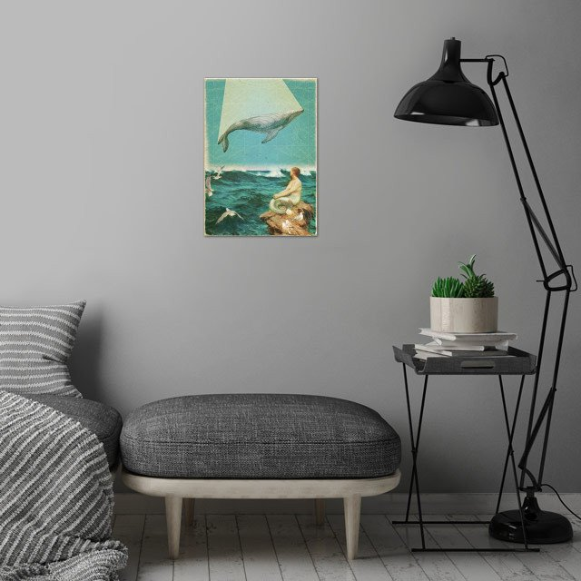 Whale Song Collage wall art is showcased in interior