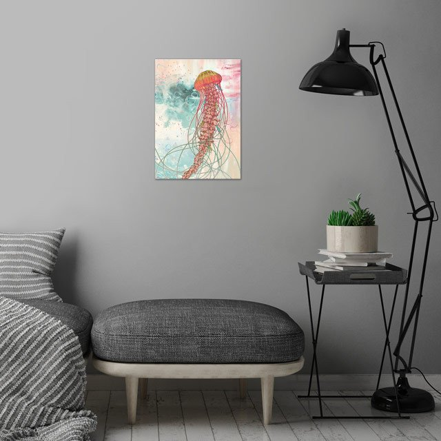 Jellyfish wall art is showcased in interior