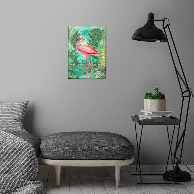 Tropical Collage wall art is showcased in interior