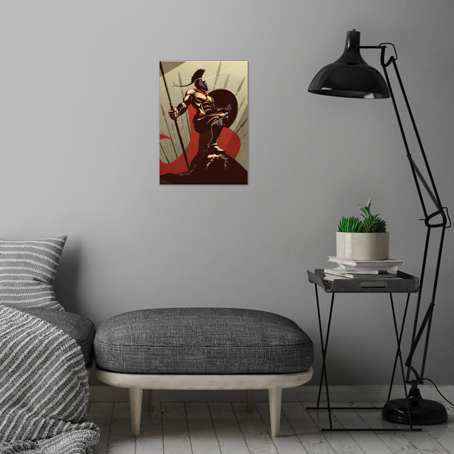 The Spartan wall art is showcased in interior