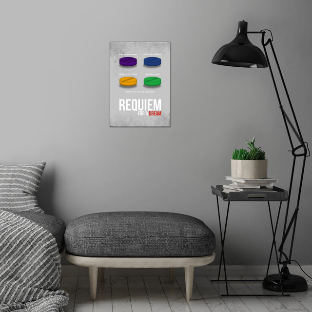 Requiem for a Dream - Minimal Movie Poster wall art is showcased in interior