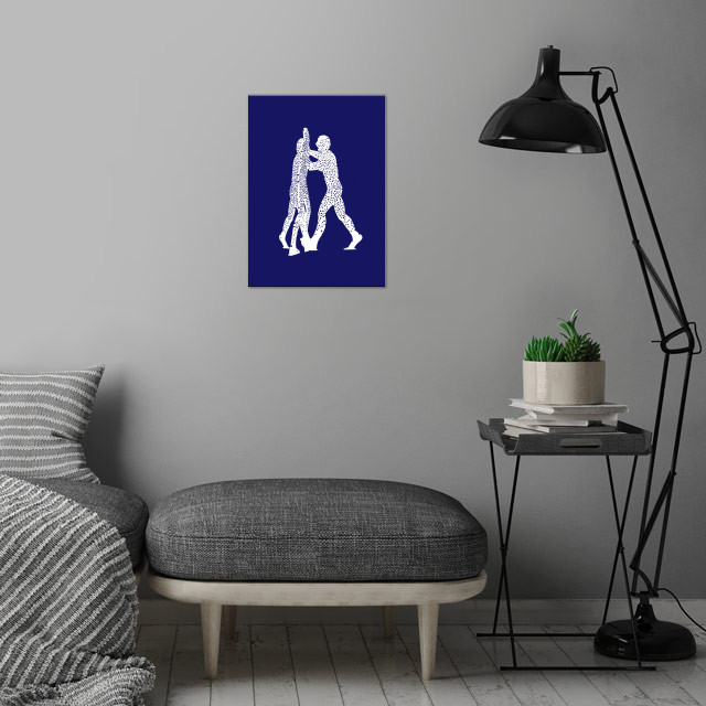 Molecule Man.  Silhouette after a series of aluminium sculptures, designed by American artist Jonathan Borofsky. wall art is showcased in interior