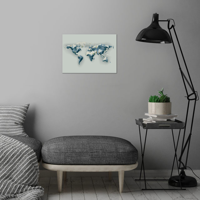 low poly world map wall art is showcased in interior
