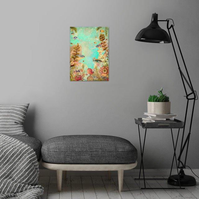 Tropical Caribbean Blue Collage wall art is showcased in interior