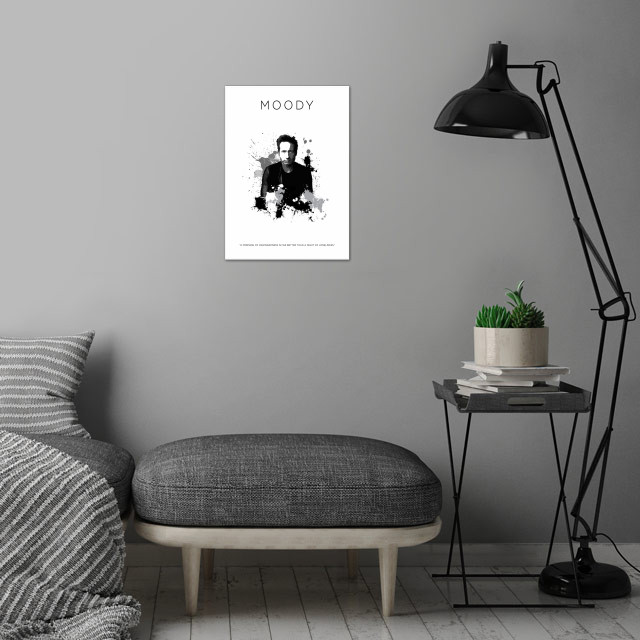 Hank Moody wall art is showcased in interior