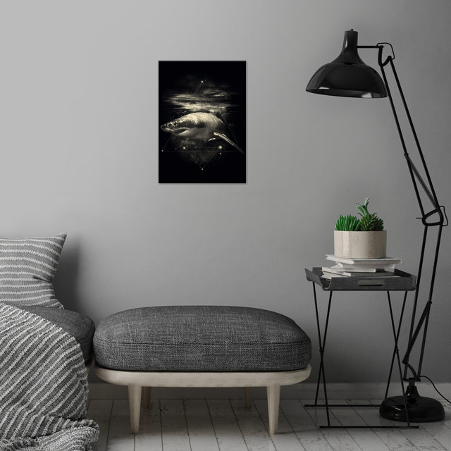 Shark in Space wall art is showcased in interior