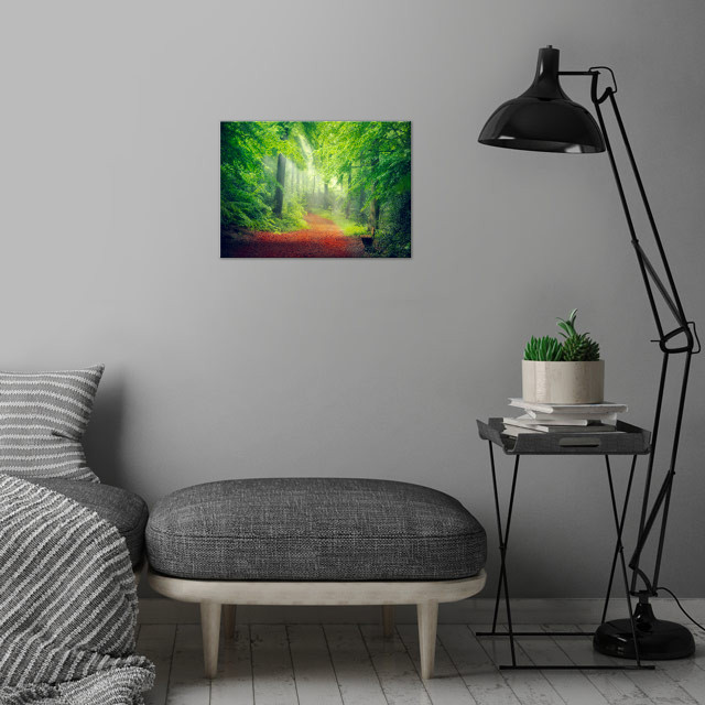 Fresh spring forest in morning light wall art is showcased in interior