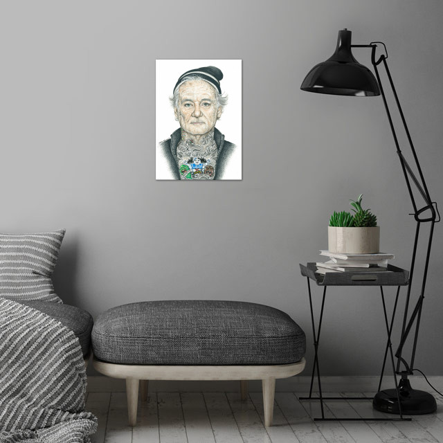 Bill Murray inked wall art is showcased in interior