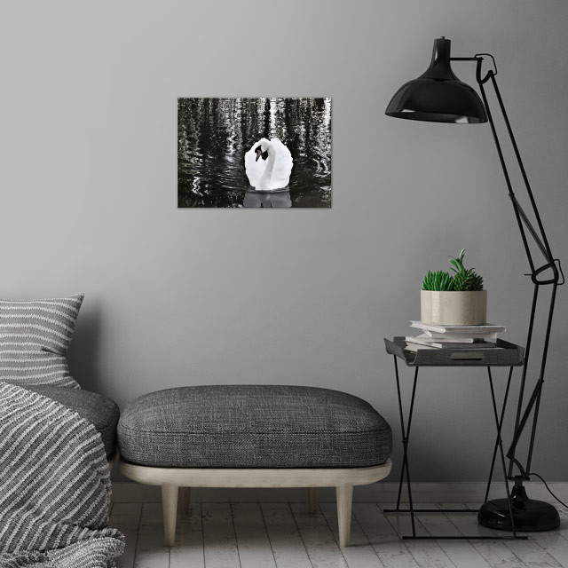 swan pose wall art is showcased in interior