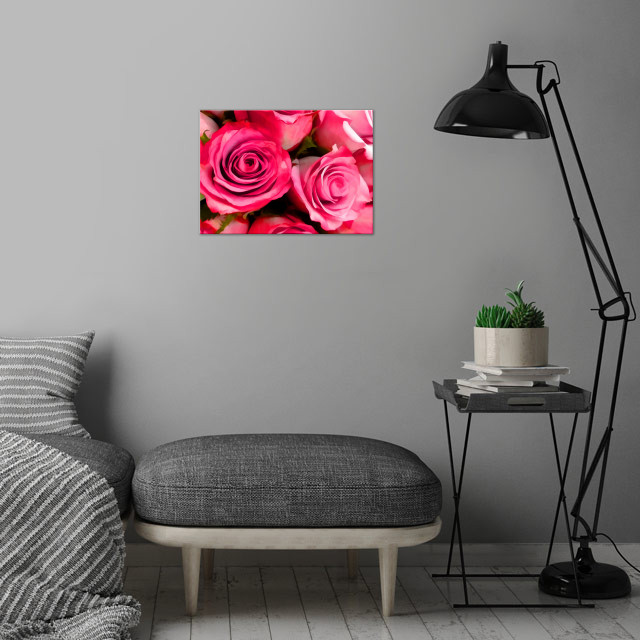 Pink Roses wall art is showcased in interior