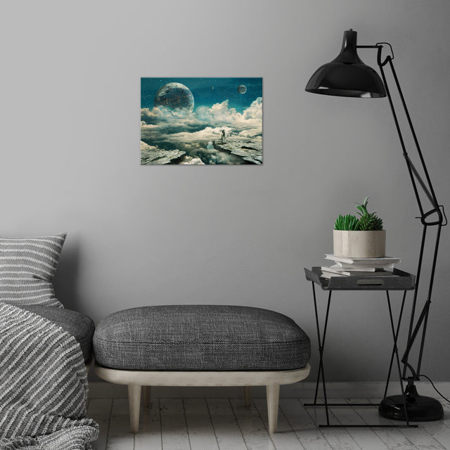 The explorer wall art is showcased in interior