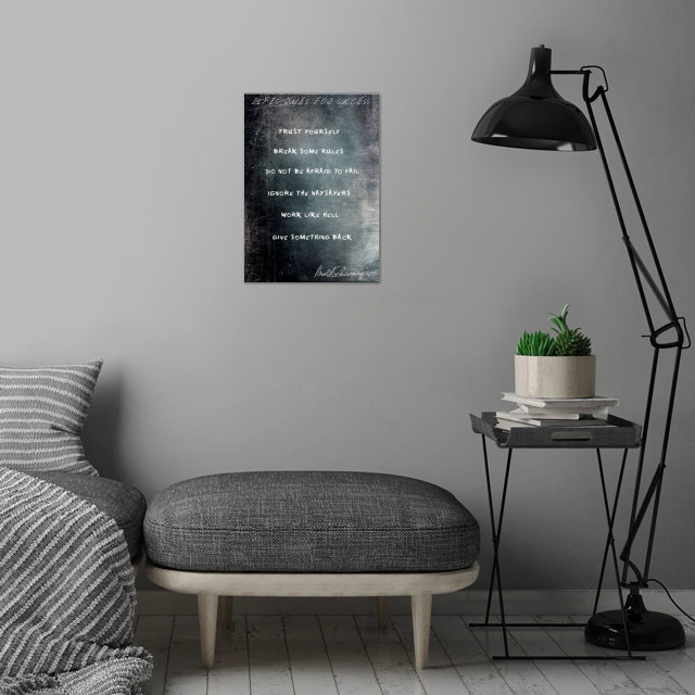 Lifes Rules For Success,  the 6 rules by Arnold Schwarzenegger wall art is showcased in interior