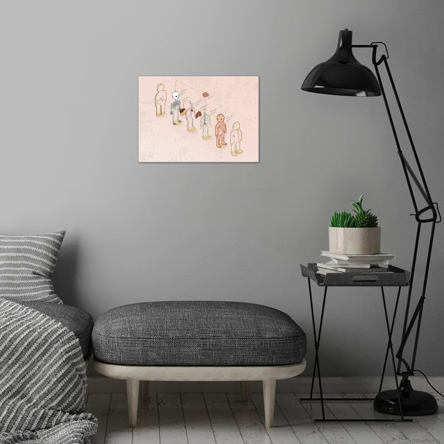 anatomy 101 - exploded wall art is showcased in interior