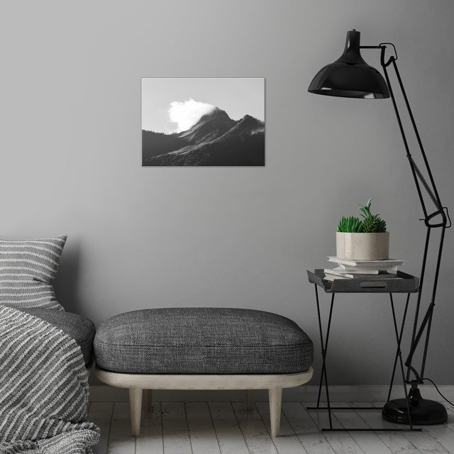 "I SEE FIRE | ""Oh, misty eye of the mountain below..."" Black and white photograph of a misty mountain. Taken in Austria. wall art is showcased in interior"