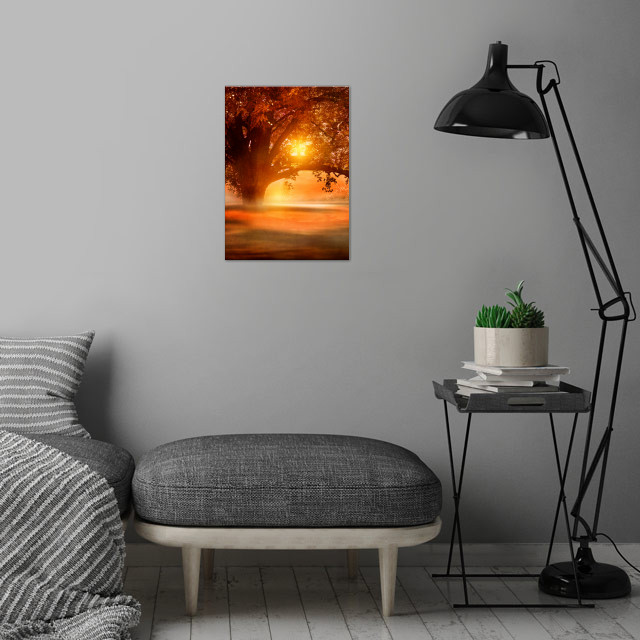 Romance in autumn wall art is showcased in interior
