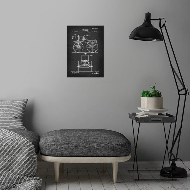 Road Engine - Patent by G. B. Selden - 1895 wall art is showcased in interior