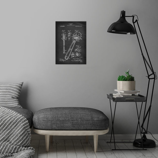 Wrench - Patent by E. Peterson - 1915 wall art is showcased in interior
