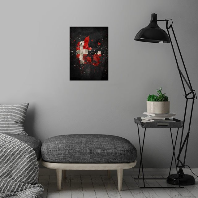 Polymetric map of Denmark shattered and overlayed with the danish flag together with a dark background to bring contrast. wall art is showcased in interior