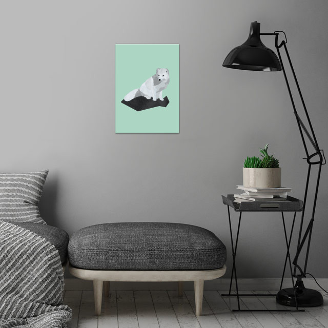 Arctic Fox wall art is showcased in interior