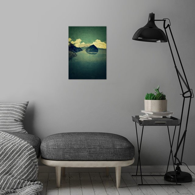 Distant Blues wall art is showcased in interior