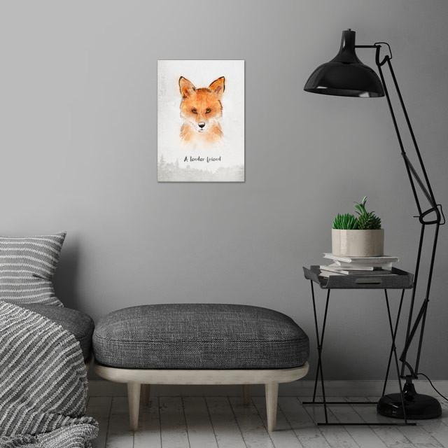 Spirits . Fox - A tender friend wall art is showcased in interior