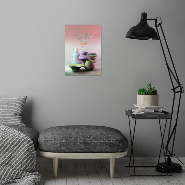 Creativity Never Goes Out of Style Watercolor 3D Potter... wall art is showcased in interior