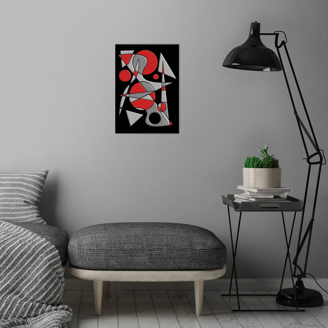 Abstract #284 Paladin is a geometric abstract in red, gray and black -- inspired by the art of Joan Miro -- by Rockett Graphics. wall art is showcased in interior