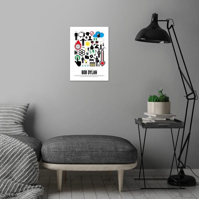 Bob Dylan pictogram poster - part of a series of posters, depicting the songs from different rock bands and artists, using simple pictograms.  wall art is showcased in interior
