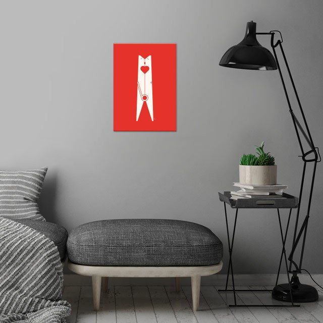 Clothespin kiss.  wall art is showcased in interior