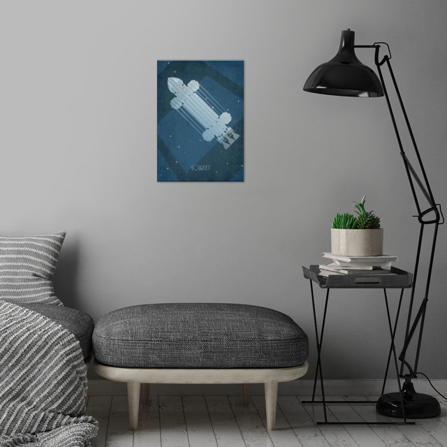 Space1999 Eagle inspired art deco poster wall art is showcased in interior