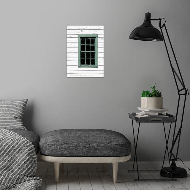 Green window in an abandoned white 1800s house in Upsta... wall art is showcased in interior