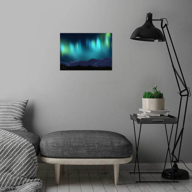 The Aurora borealis shimmers over of snow-covered mountains. The Aurora, or Northern Lights, is named after the Roman goddess of dawn, Aurora, and the Greek name for the north wind, Boreas. The Inuit of Alaska believed that the lights were the spirits of the animals they hunted: the seals, salmon, deer and beluga whales.  wall art is showcased in interior