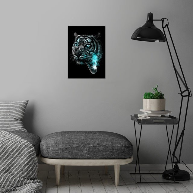 Gentle Tiger wall art is showcased in interior