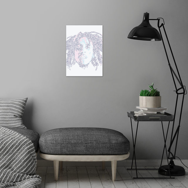 Bob Marley. Portrait made out of tiny icons; see more of the project here:  wall art is showcased in interior